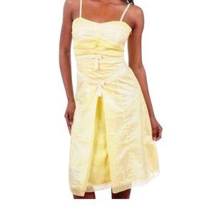 Inverted Pleat Bow Eyelet Trim Full Bottom Dress